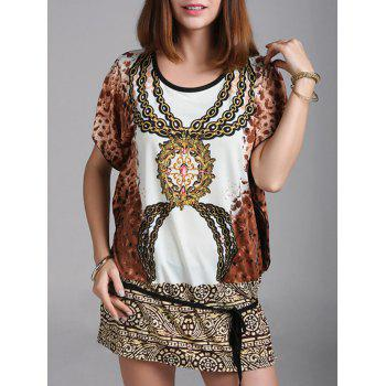 Mini Oversized Tribal Print Dress