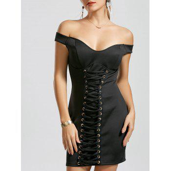 Off The Shoulder Lace-up Bodycon Short Dress