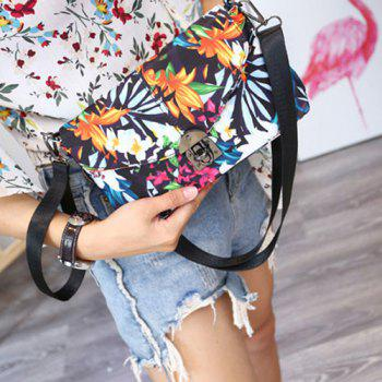 Nylon Floral Printed Crossbody Bag -  WHITE