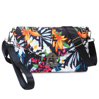 Nylon Floral Printed Crossbody Bag - WHITE WHITE