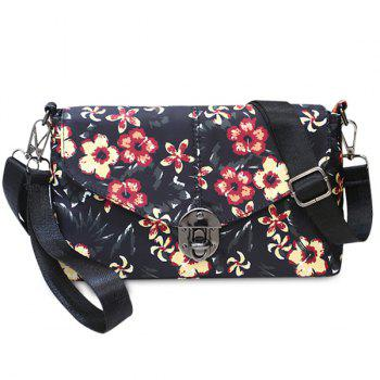 Nylon Floral Printed Crossbody Bag - BLACK BLACK