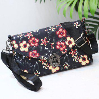 Nylon Floral Printed Crossbody Bag -  BLACK