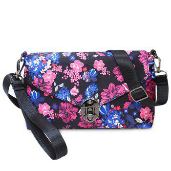 Nylon Floral Printed Crossbody Bag - PURPLE PURPLE