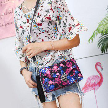 Nylon Floral Printed Crossbody Bag -  PURPLE