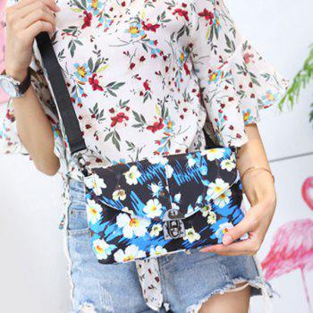 Nylon Floral Printed Crossbody Bag -  BLUE