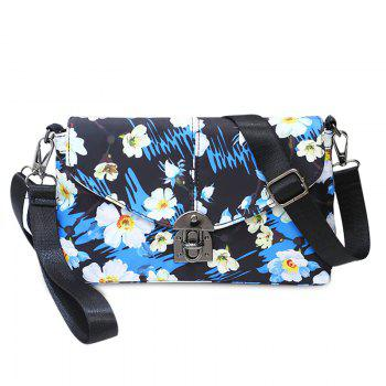 Nylon Floral Printed Crossbody Bag - BLUE BLUE