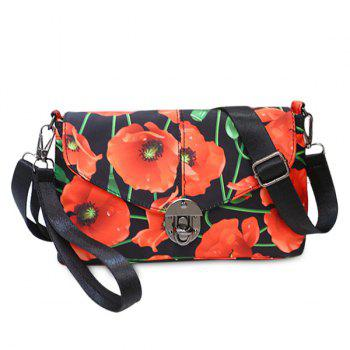 Nylon Floral Printed Crossbody Bag - RED RED