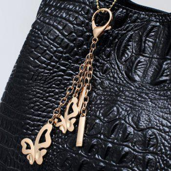 Crocodile Embossed Wallet and Handbag -  BLACK