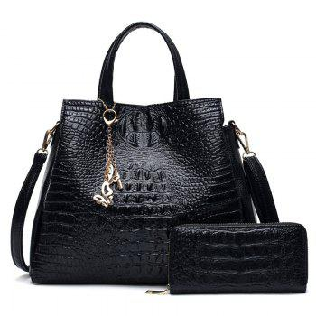 Crocodile Embossed Wallet and Handbag - BLACK BLACK