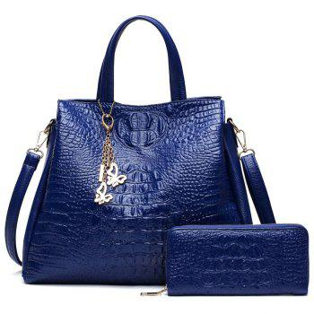 Crocodile Embossed Wallet and Handbag - BLUE BLUE