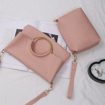 Convertible Metal Ring Tote Bag -  PINK