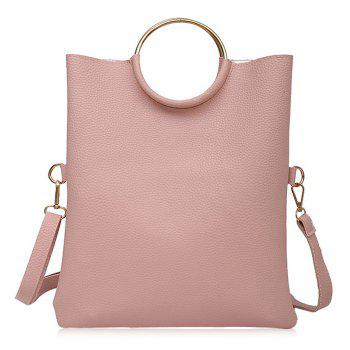 Convertible Metal Ring Tote Bag - PINK PINK