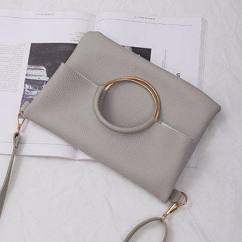 Convertible Metal Ring Tote Bag -  GRAY