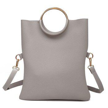 Convertible Metal Ring Tote Bag - GRAY GRAY