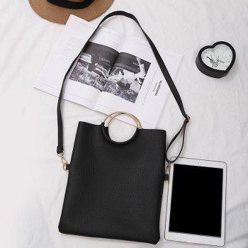 Convertible Metal Ring Tote Bag -  BLACK