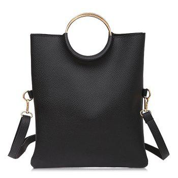 Convertible Metal Ring Tote Bag - BLACK BLACK