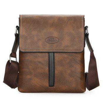 Flap PU Leather Crossbody Bag - BROWN BROWN