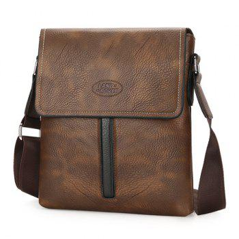 Flap PU Leather Crossbody Bag - BROWN