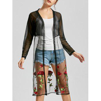 See Through Floral Embroidered Duster Kimono