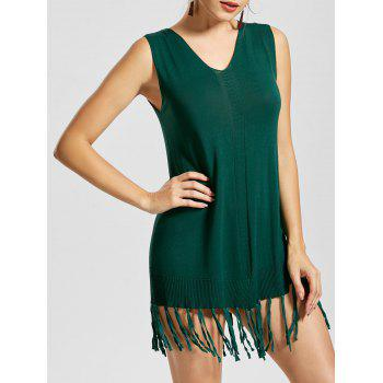 V Neck Sleeveless Mini Fringe Dress