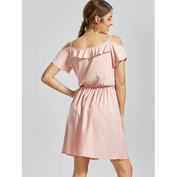 Flounce Spaghetti Straps Dress - ROSE PÂLE S
