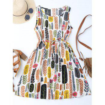 Leaf Print Drawstring Sleeveless A Line Dress