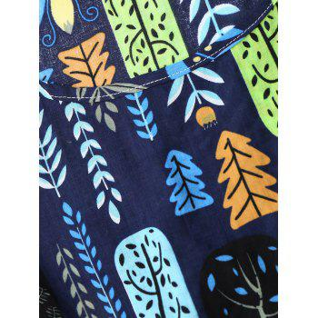 Leaf Print Drawstring Sleeveless A Line Dress - CERULEAN M
