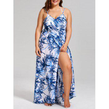 Plus Size Coconut Tree Print Cover Up Dress