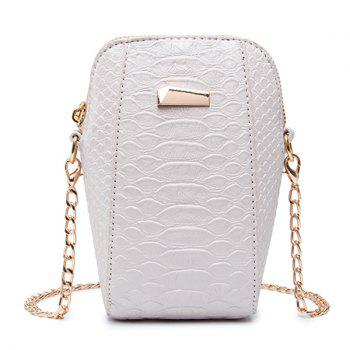Crocodile Pattern Chain Crossbody Bag - OFF-WHITE OFF WHITE