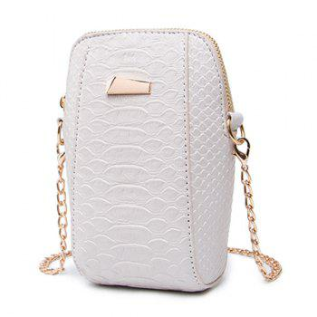 Crocodile Pattern Chain Crossbody Bag -  OFF WHITE
