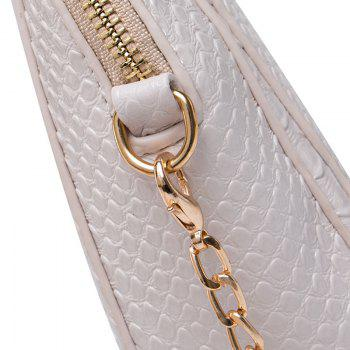 Crocodile Pattern Chain Crossbody Bag -  GRAY