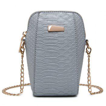 Crocodile Pattern Chain Crossbody Bag - GRAY GRAY