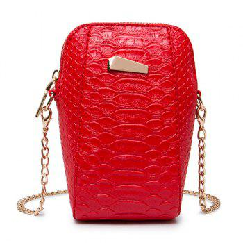 Crocodile Pattern Chain Crossbody Bag - RED RED