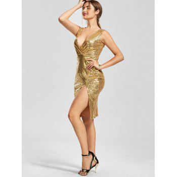 Plunging Neck Front Slit Bodycon Sequin Dress - S S
