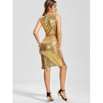 Plunging Neck Front Slit Bodycon Sequin Dress - GOLDEN M