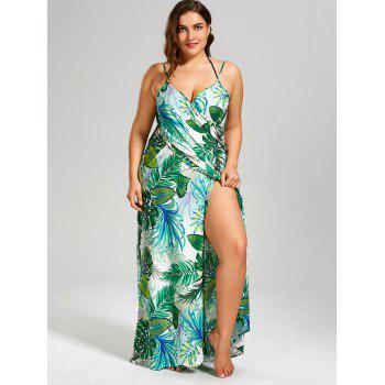 Plus Size Palm Leaf Print Maxi Cover Up Dress - Vert 4XL