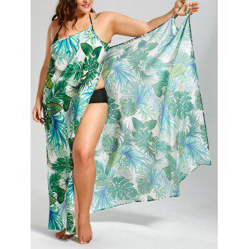 Plus Size Palm Leaf Print Maxi Cover Up Dress