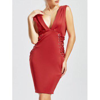 Plunging Neck Lace-up Bodycon Dress