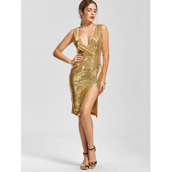 Plunging Neck Front Slit Bodycon Sequin Dress - GOLDEN GOLDEN