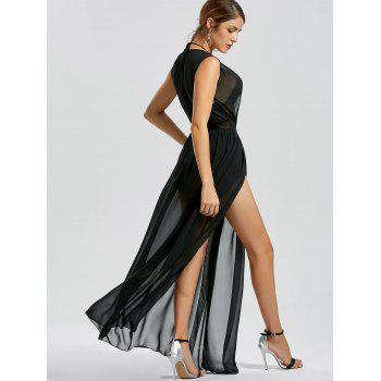 Low Cut High Slit Sheer Mesh Dress - BLACK BLACK
