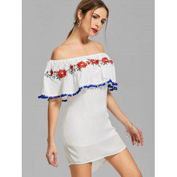 Off The Shoulder Embroidered Flounce Dress - WHITE L