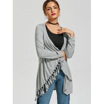 Stylish Collarless Long Sleeve Fringed Asymmetrical Women's Cardigan - GRAY XL