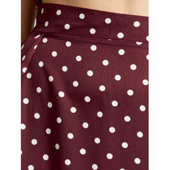 Off The Shoulder Polka Dot Three Piece Dress - WINE RED WINE RED