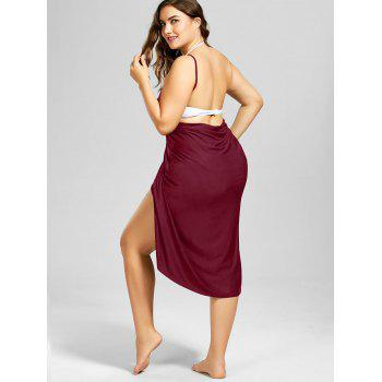 Plus Size Beach Cover-up Wrap Dress - WINE RED XL
