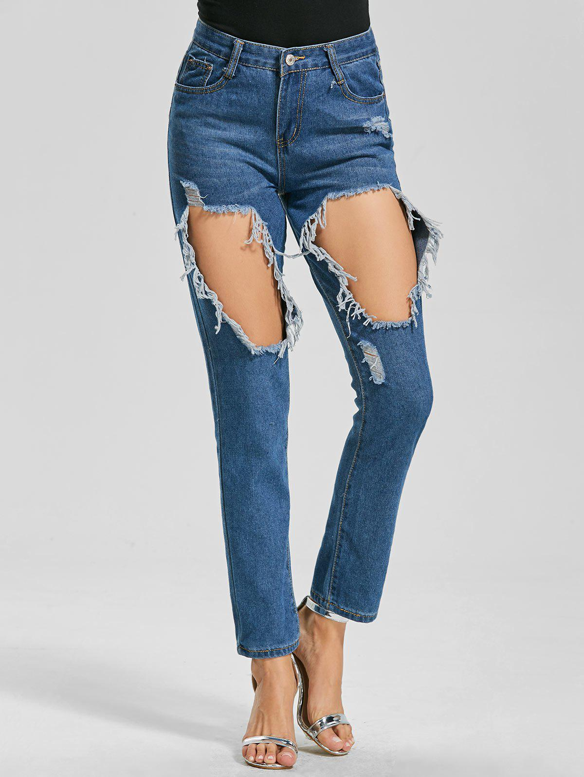Cut Out Ankle Length Ripped Jeans - BLUE L