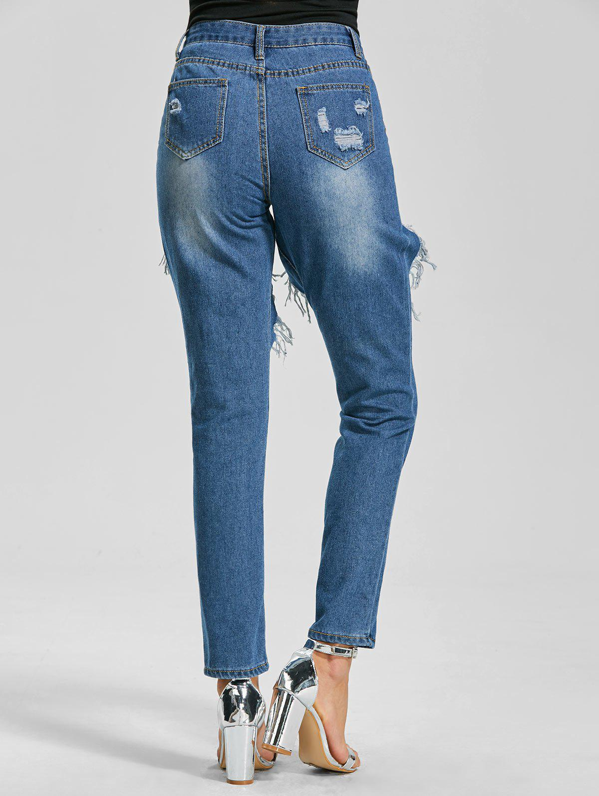 Cut Out Ankle Length Ripped Jeans - BLUE XL
