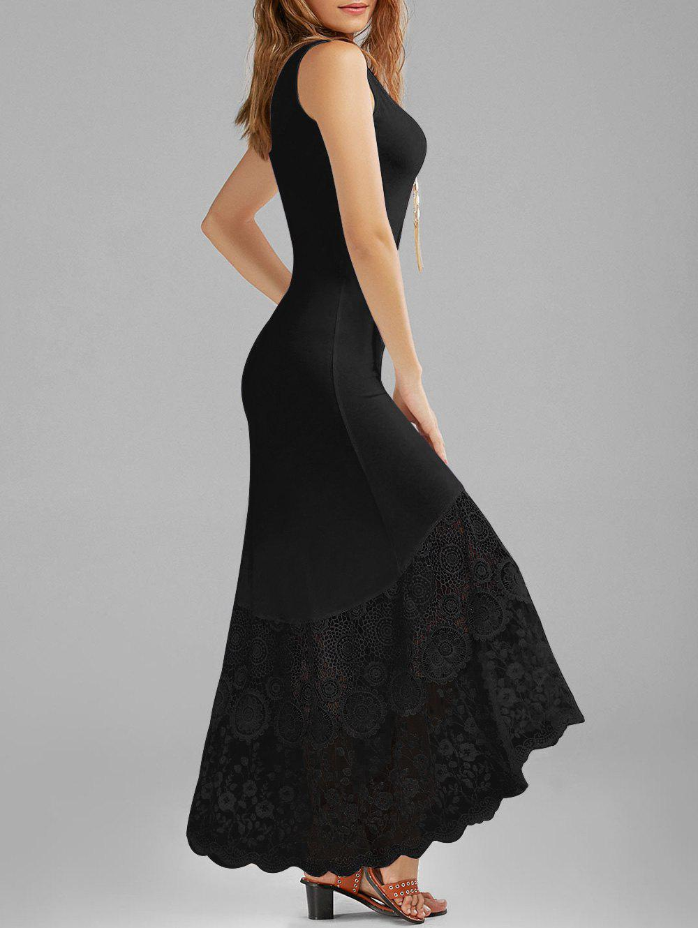 Scalloped Lace Panel Fitted Maxi Tank Dress scalloped fitted