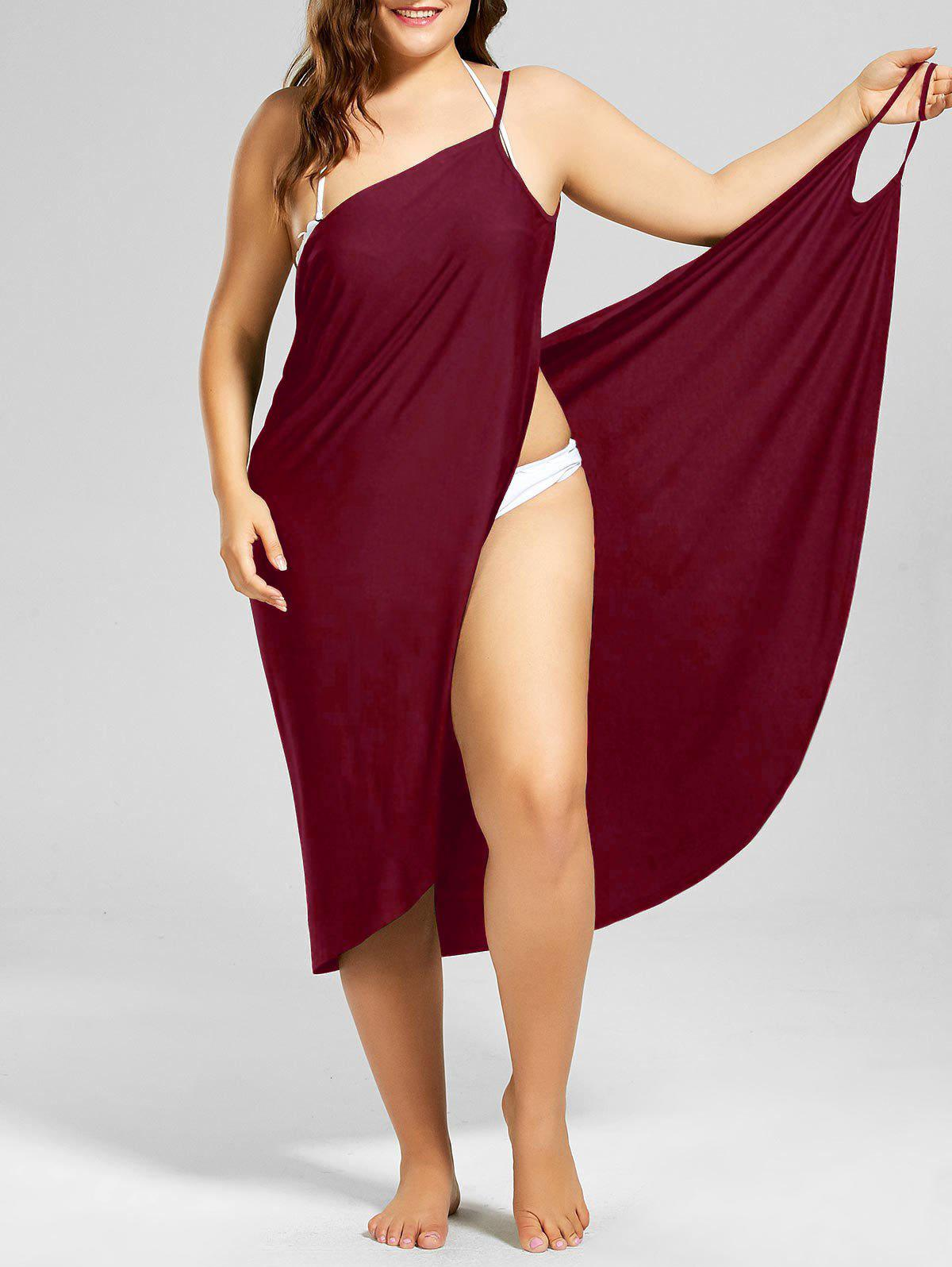 Plus Size Beach Cover-up Wrap Dress - WINE RED 4XL