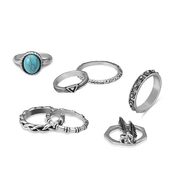 Faux Turquoise Bohemian Alloy Feather Ring Set - SILVER