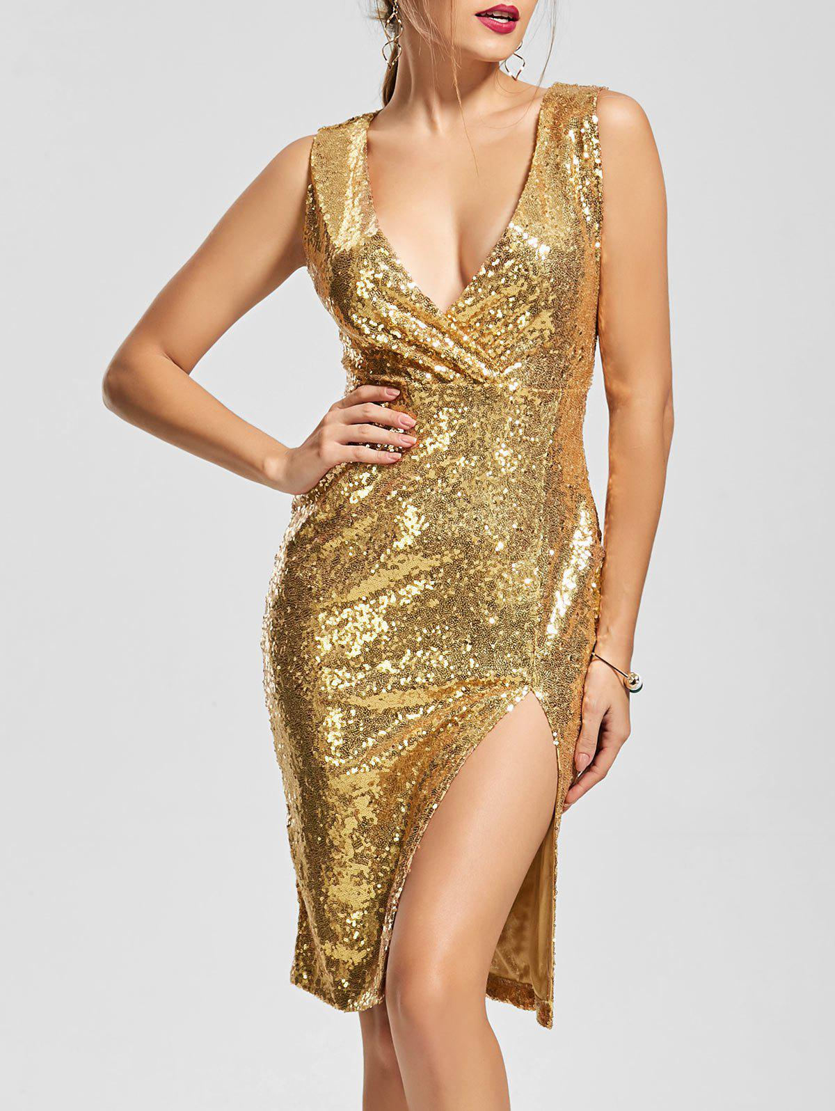 Plunging Neck Front Slit Bodycon Sequin Dress - GOLDEN L